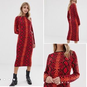 ASOS Red Snake Print Knit Midi Dress